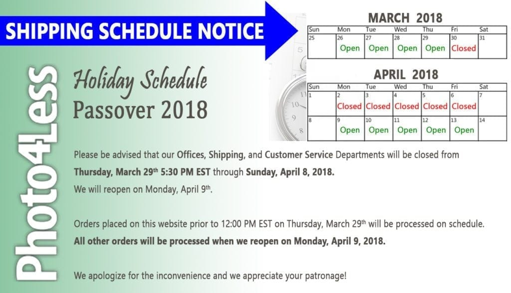 P4L HolidaySchedule Pesach 2018  1024x588 - Special Holiday Hours