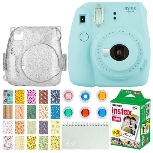 aacd5aac 8f3f 4067 bd66 dc29d55e400a 510x510 - Fujifilm Instax Mini 9 Instant Camera (Ice Blue) + Fujifilm Instax Mini Twin Pack Instant Film (20 Exposures) + Glitter Hard Case + Colored Filters + Album (White) + Sticker Frames Nature Package