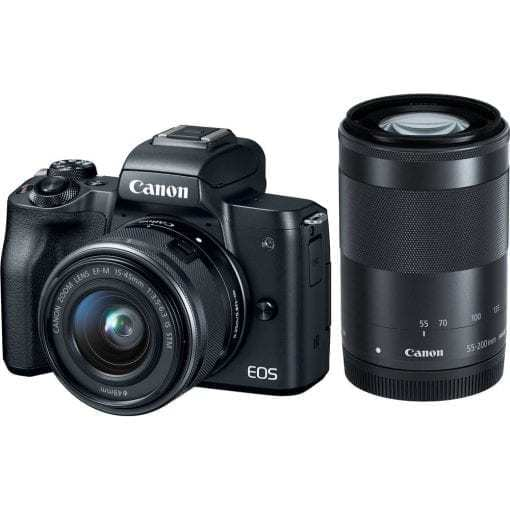 Canon EOS M50 Mirrorless Digital Camera with 15 45mm and 55 200mm Lenses Black 01 510x510 - Canon EOS M50 Mirrorless Camera Kit w/  EF-M15-45mm + EF-M 55-200mm Lenses and 4K Video (Black)